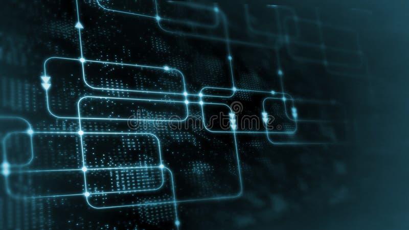 rendição 3D da tecnologia abstrata de Digitas Fluxograma azul do software informático da cor no fundo do diagrama de sistema da c fotografia de stock royalty free