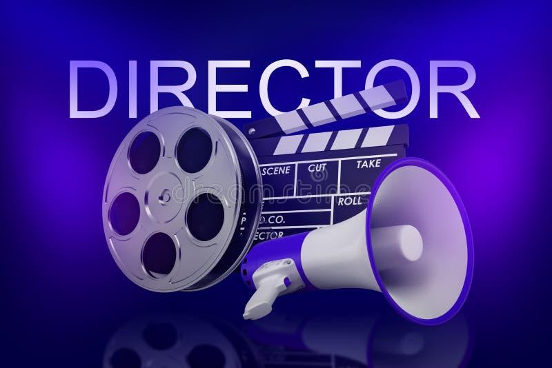 rendição 3d da válvula do filme, do carretel de filme e do megafone com sinal do DIRETOR acima no fundo azul de néon imagens de stock
