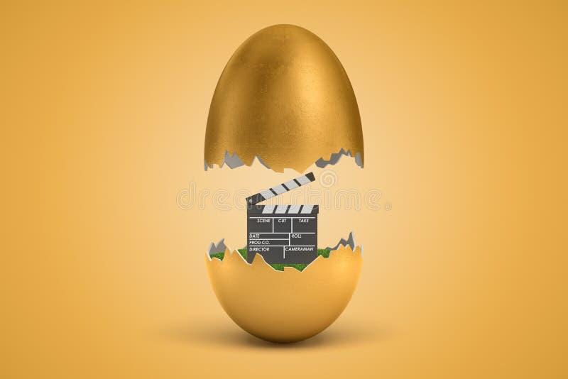 rendição 3d da válvula do filme que choca fora do ovo dourado no fundo amarelo ilustração stock