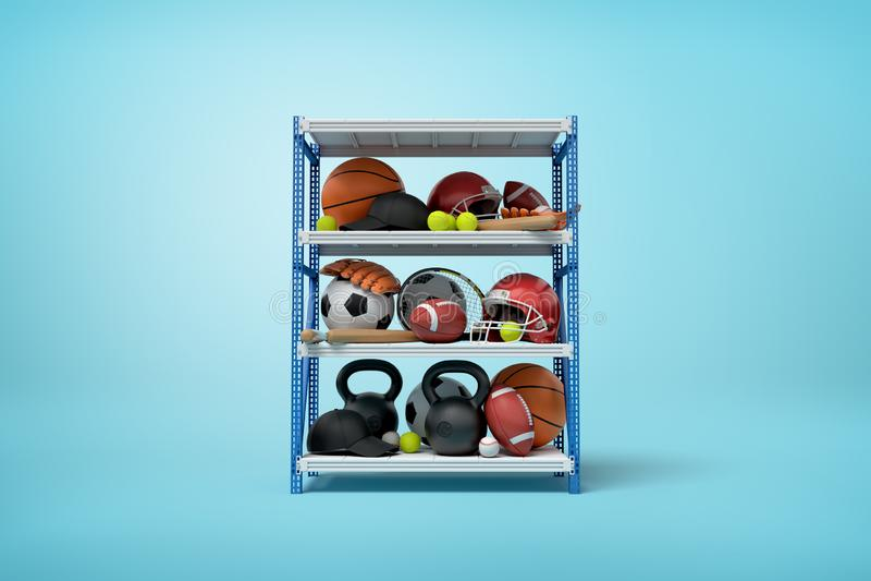 rendição 3d de bolas, de capacetes e de kettlebells dos esportes em prateleiras da cremalheira do metal no fundo azul ilustração stock