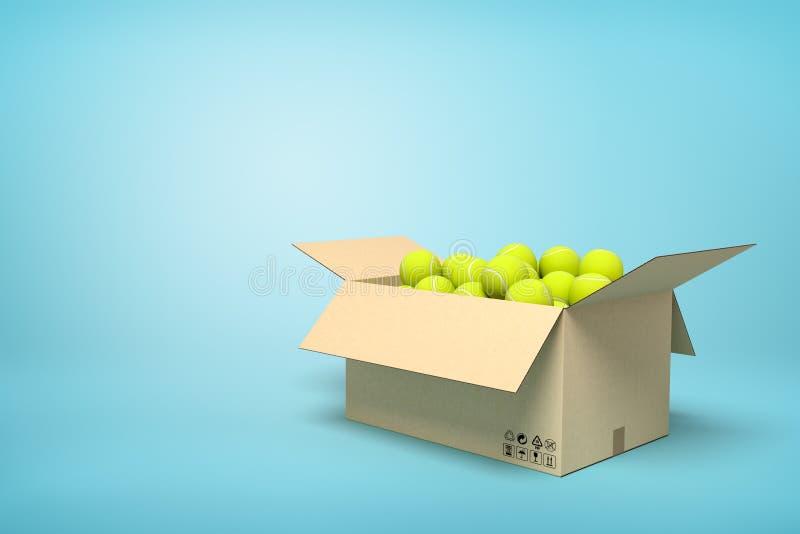 rendição 3d de bolas de tênis amarelas na caixa da caixa no fundo azul ilustração stock