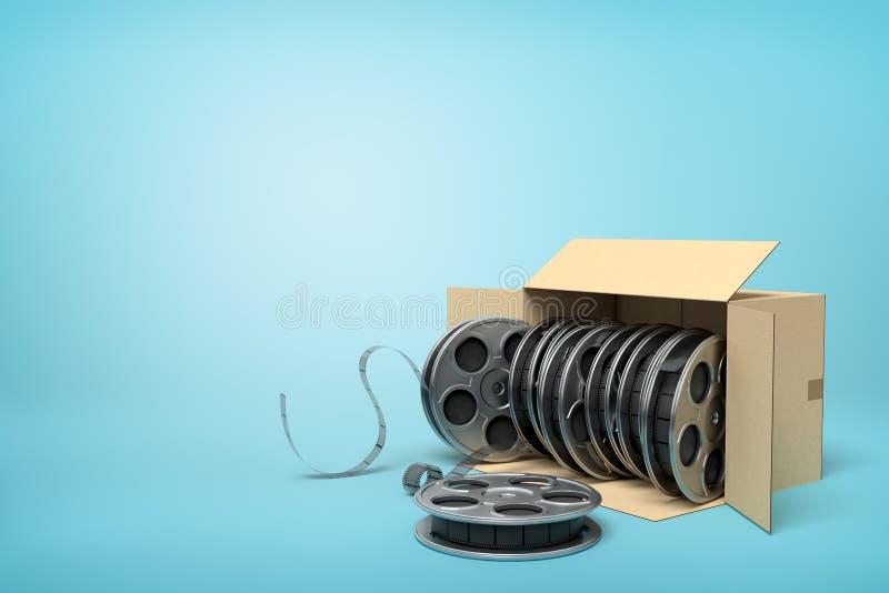 rendição 3d de completo de lado de encontro da caixa de cartão de carretéis de filme no fundo azul ilustração stock