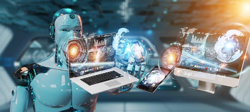 Rendição 3D de conexão dos dispositivos do cyborg branco junto ilustração do vetor