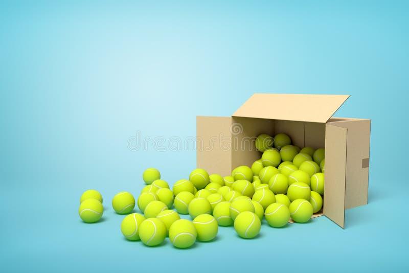 rendição 3d de desenrolar amarelo das bolas de tênis da caixa da caixa no fundo azul ilustração do vetor