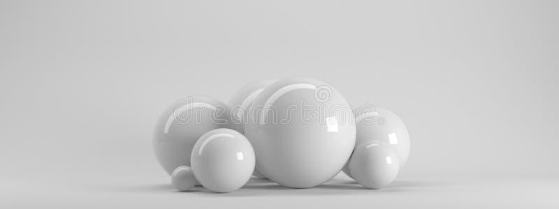 a rendição 3d de diversos fez sob medida esferas refletidas dentro de um s branco ilustração stock