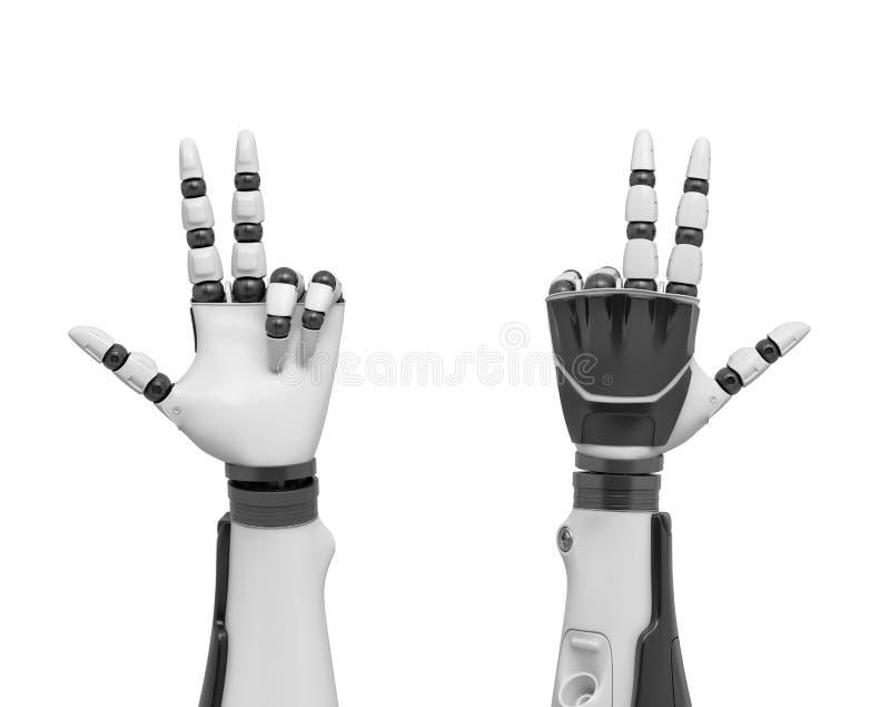 a rendição 3d de dois braços robóticos com todos os dedos que colam para fora exceptua o anel e os dedos mindinhos foto de stock