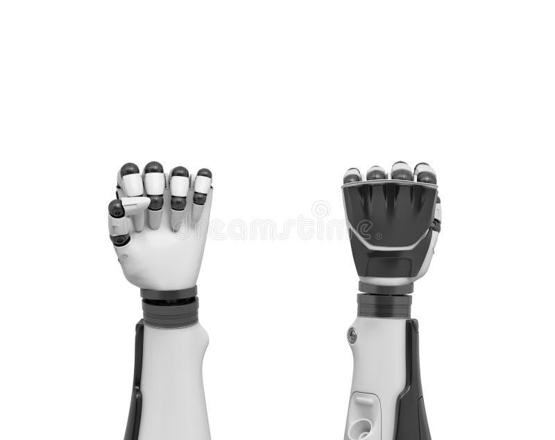 rendição 3d de dois braços robóticos nos punhos apertados mostrados da parte dianteira e da parte traseira das mãos imagem de stock royalty free