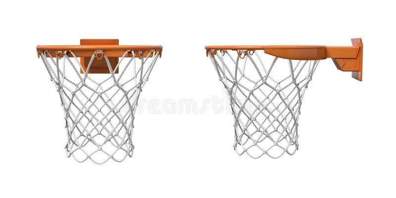 rendição 3d de duas redes do basquetebol com as aros alaranjadas na parte dianteira e em vistas laterais ilustração stock