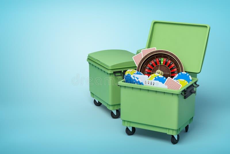 rendição 3d de escaninhos de lixo verdes com roleta do casino, microplaquetas e cartões de jogo para dentro no fundo azul foto de stock