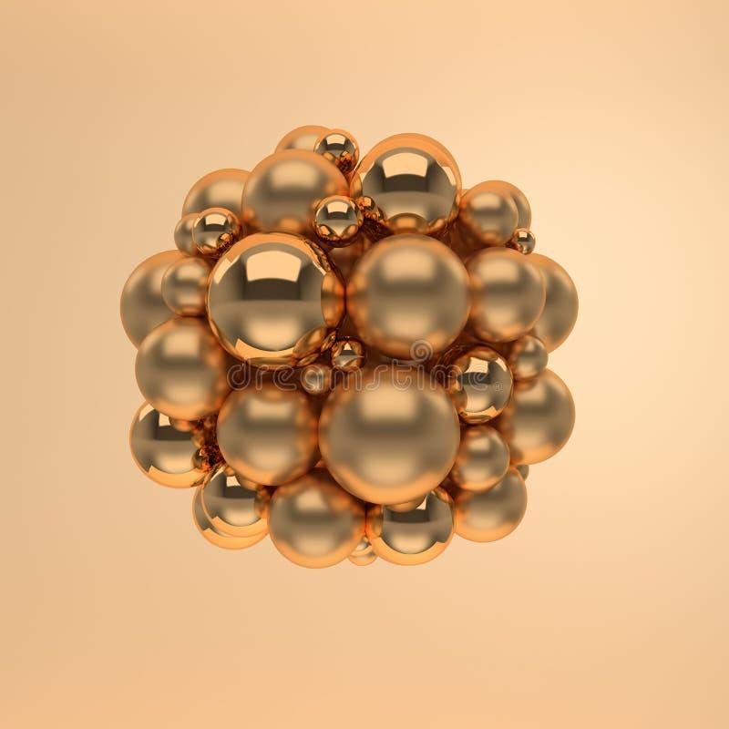 rendição 3d de flutuar esferas lustradas lustroso e de esteira do ouro no fundo bege Composição geométrica abstrata Grupo de bola ilustração royalty free