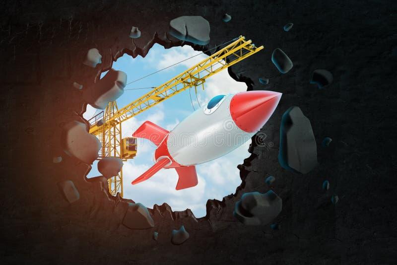 rendição 3d de içar o foguete de espaço levando do guindaste e de quebrar a parede que deixa o furo nele com o céu azul visto com ilustração stock