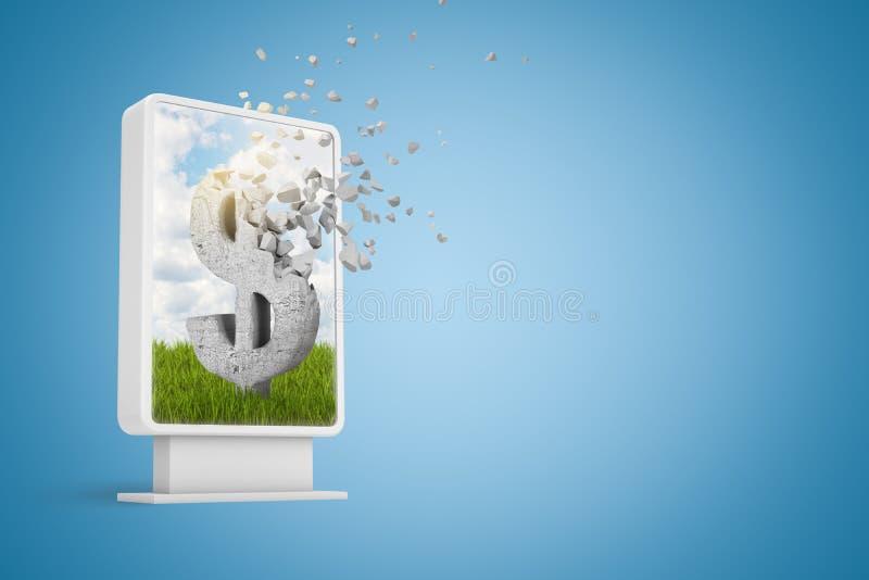 rendição 3d de infodisplay digital com o símbolo do dólar que dissolve-se nas partículas na tela no fundo azul com cópia ilustração stock