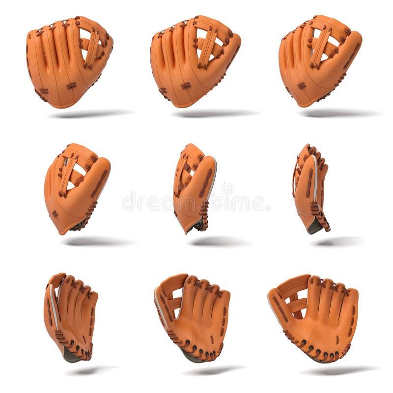 rendição 3d de muitas luvas de beisebol de couro alaranjadas em ângulos de vista diferentes em um fundo branco ilustração do vetor