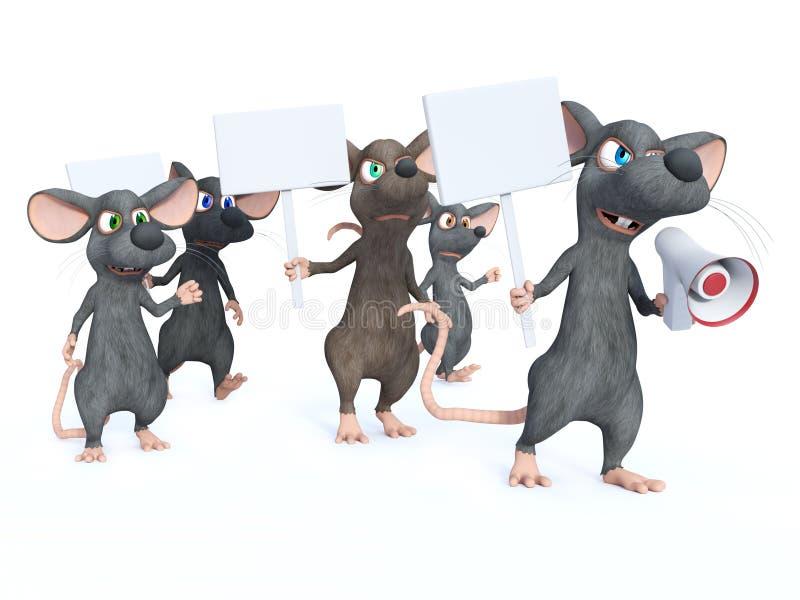 rendição 3D de ratos dos desenhos animados na greve ilustração stock