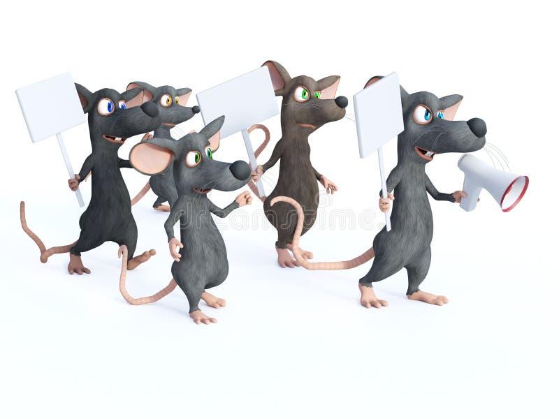 rendição 3D de ratos dos desenhos animados na greve ilustração do vetor