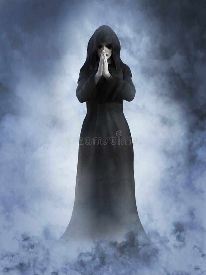 rendição 3D de rezar da freira do fantasma ilustração royalty free