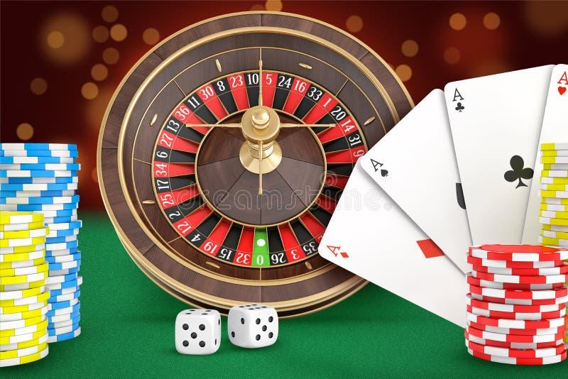 rendição 3d de suportes da roleta do casino em uma tabela sentida verde com cartões, dados, pilhas das microplaquetas próximo ilustração royalty free