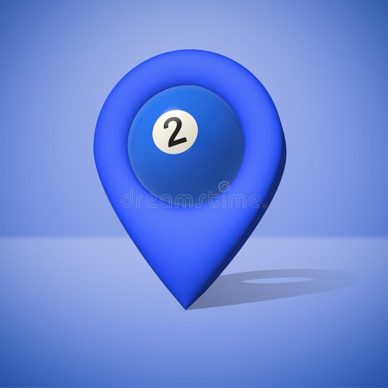 rendição 3d de um ícone azul do lugar com uma bola de bilhar para dentro dela ilustração royalty free