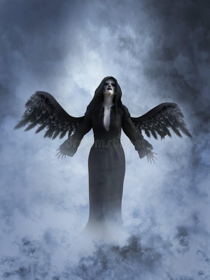 rendição 3D de um anjo de morte no céu ilustração stock