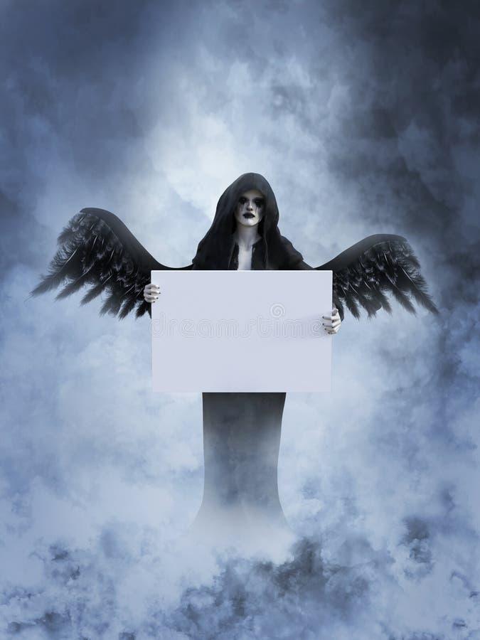 rendição 3D de um anjo de morte no céu que guarda o sinal vazio ilustração stock