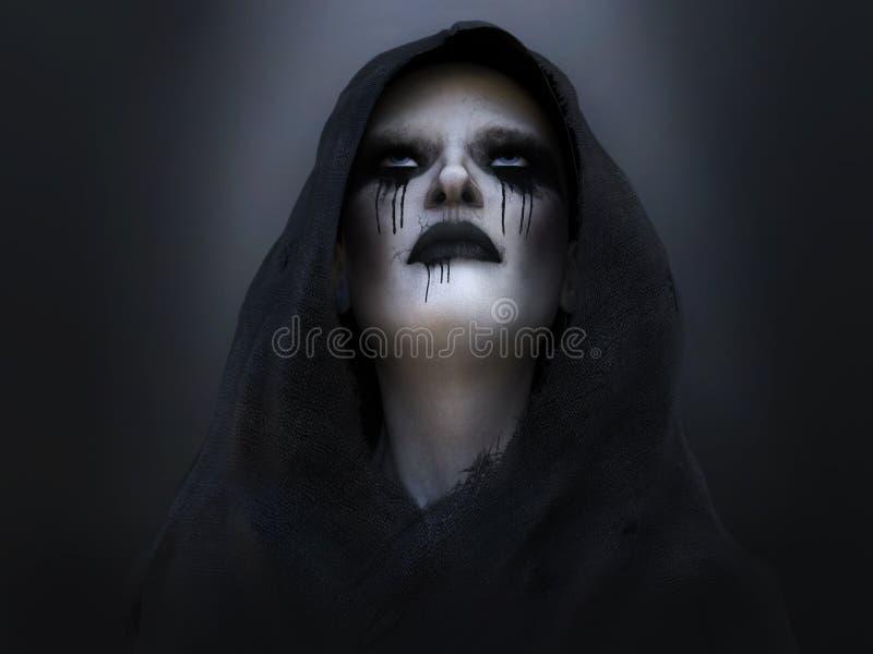 rendição 3D de um anjo ou de um demônio de morte ilustração stock