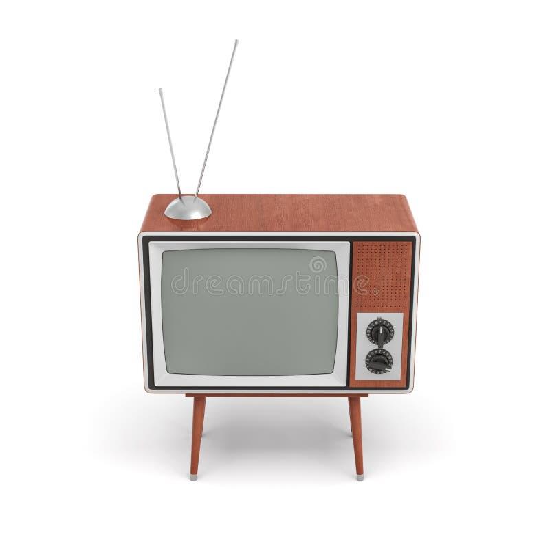 a rendição 3d de um aparelho de televisão retro vazio com uma antena está em uma tabela baixos quatro equipada com pernas no fund ilustração royalty free