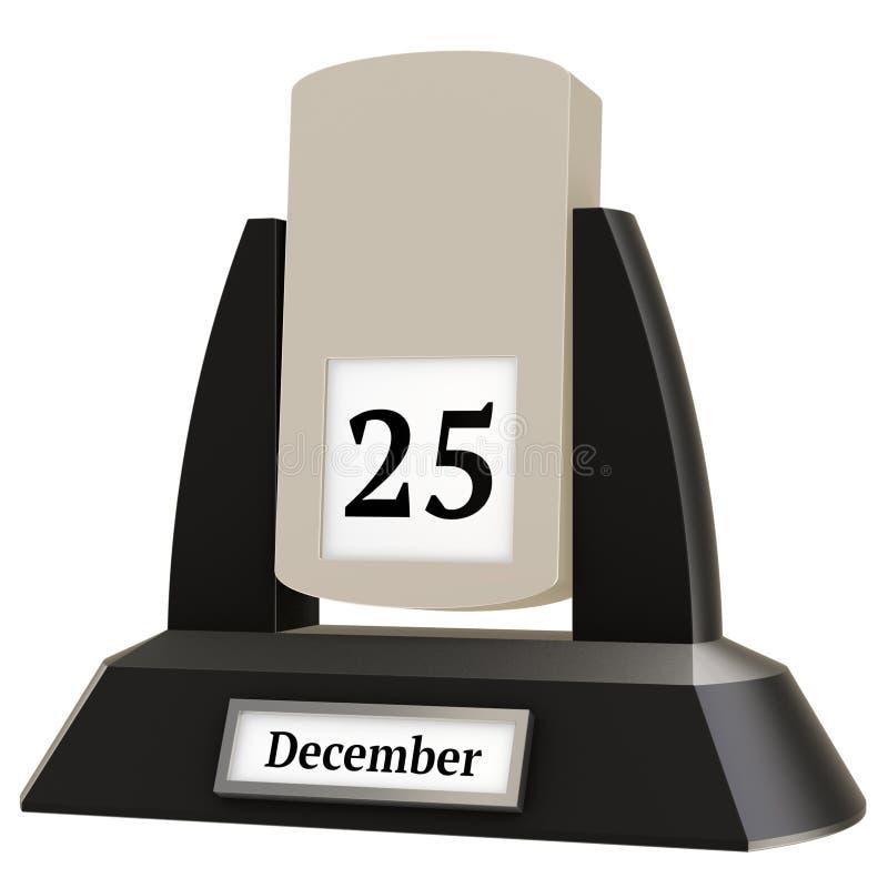 rendição 3D de um calendário da aleta do vintage que mostra a data do 25 de dezembro ilustração royalty free