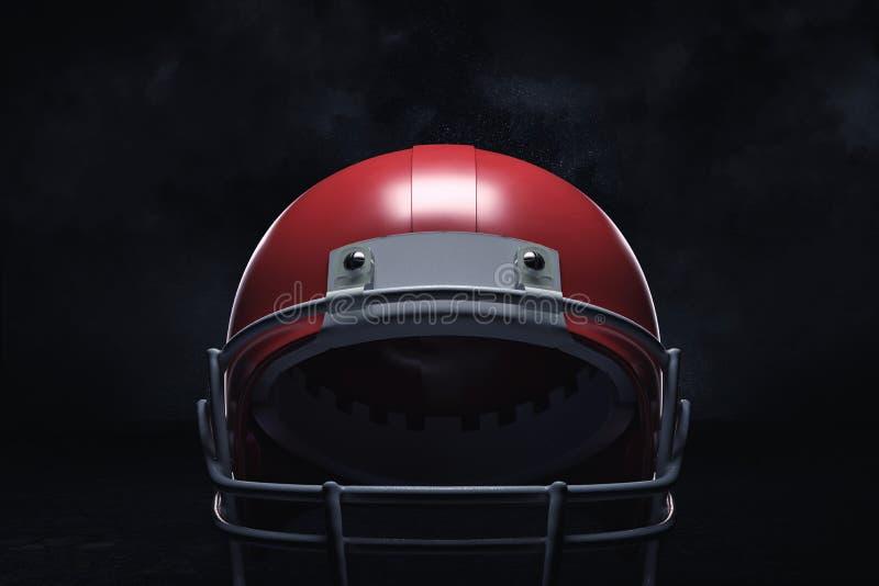 rendição 3d de um capacete de futebol americano vermelho com seu protetor dianteiro em um fundo escuro foto de stock royalty free