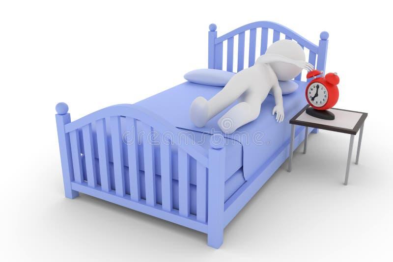 a rendição 3D de um caráter da argila em uma cama está girando para desligar o despertador ilustração royalty free