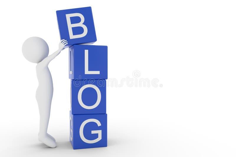 rendição 3D de um caráter da argila que levanta uma letra B do cubo à parte superior das outras letras do blogue da palavra do th ilustração do vetor