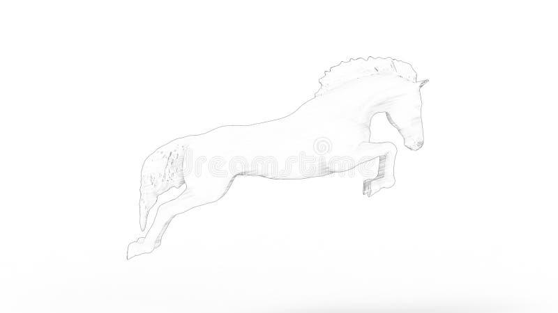 rendição 3d de um cavalo de salto isolado no fundo branco ilustração do vetor