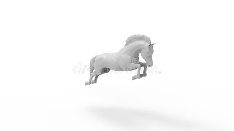 rendição 3d de um cavalo de salto isolado no fundo branco ilustração royalty free