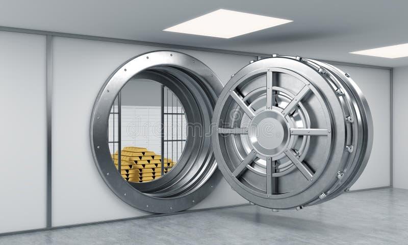 rendição 3D de um cofre forte redondo aberto grande do metal em um depósito do banco ilustração royalty free
