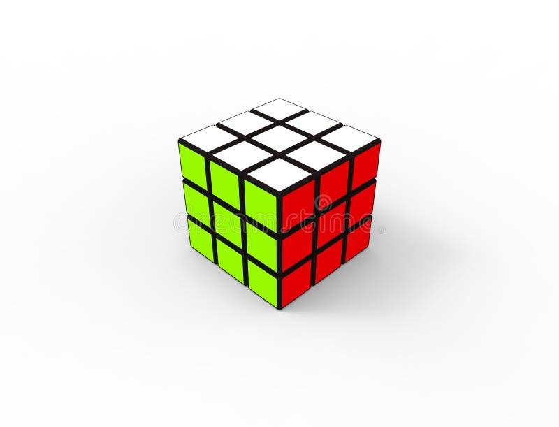rendição 3d de um cubo do enigma isolado no fundo branco do estúdio ilustração do vetor
