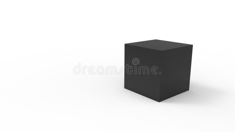 rendição 3d de um cubo isolado no fundo branco do estúdio ilustração do vetor