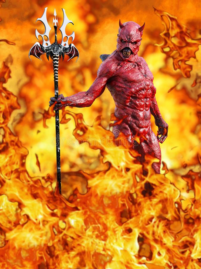 rendição 3D de um diabo no inferno ilustração stock