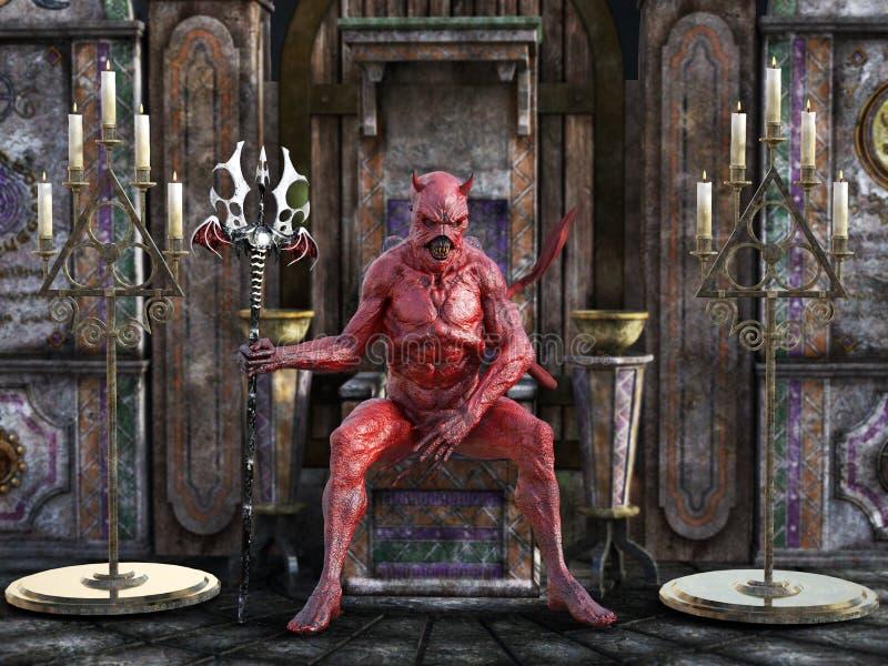 rendição 3D de um diabo que senta-se em um trono ilustração stock