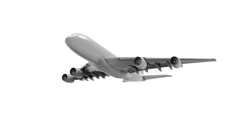 rendição 3d de um enorme - avião do jato isolado no fundo branco ilustração royalty free