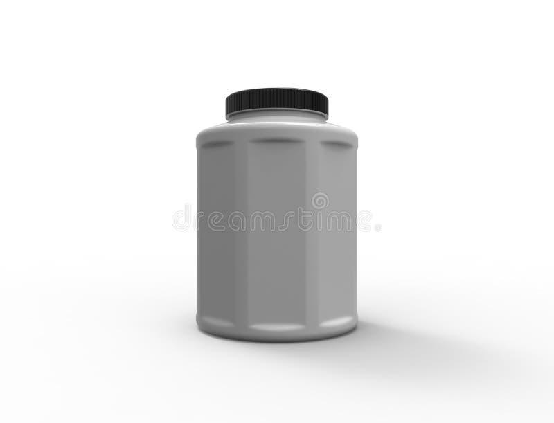 rendição 3d de um frasco plástico isolado no fundo branco ilustração do vetor