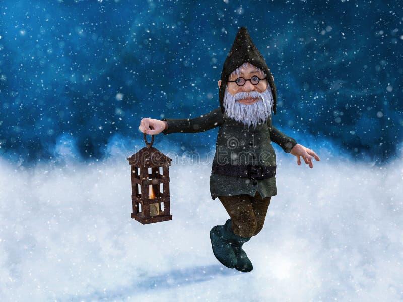 rendição 3D de um gnomo do Natal no wheater nevado ilustração stock