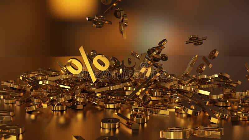 rendição 3D de um grande número sinais de por cento que caem em um montão Um grande sinal de por cento entre os sinais pequenos ilustração royalty free