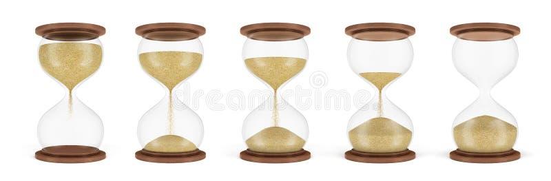 rendição 3d de um grupo de diversas ampulhetas que estão em uma fileira com a areia em fases diferentes da queda para baixo ilustração royalty free