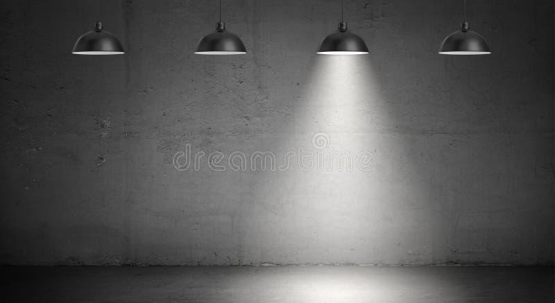 rendição 3d de um grupo de quatro lâmpadas industriais que penduram em um fundo do muro de cimento com a somente uma lâmpada leve ilustração stock