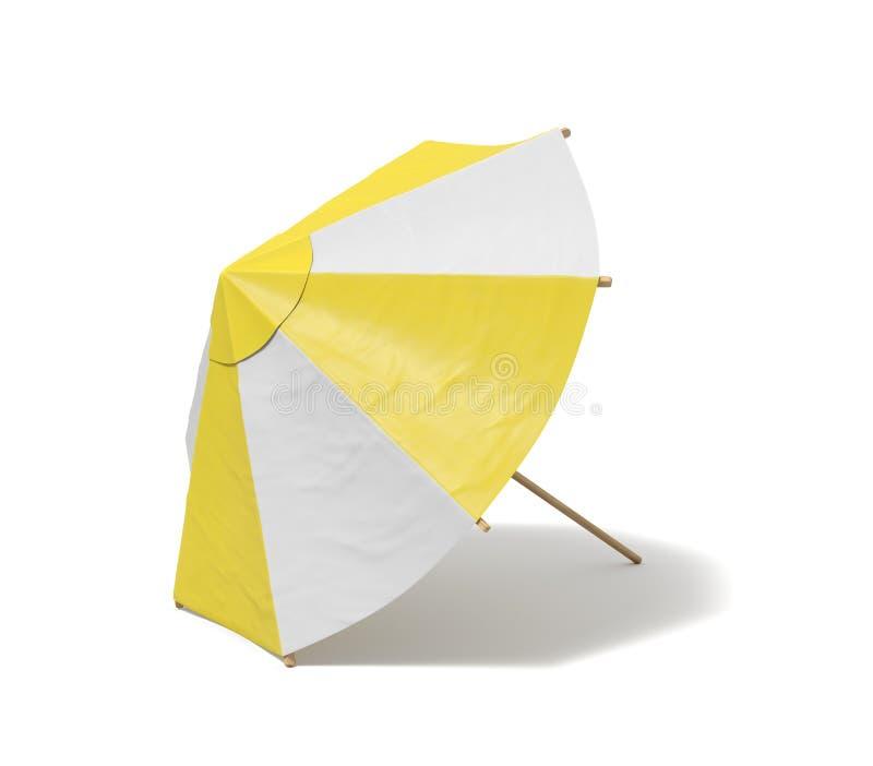 rendição 3d de um guarda-chuva de praia isolada com as listras brancas e amarelas no fundo branco ilustração royalty free