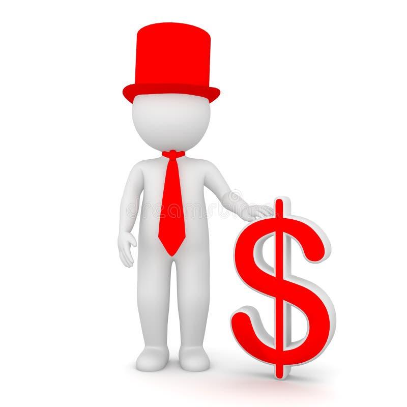 rendição 3D de um homem que guarda um sinal de dólar ilustração do vetor