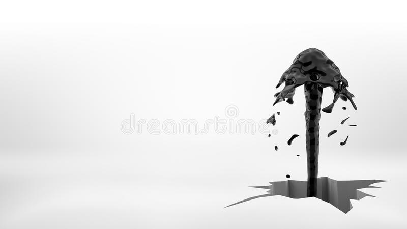 rendição 3d de um jato preto da fonte do óleo que flui fora de um grande furo rachado desigual em uma superfície branca ilustração royalty free