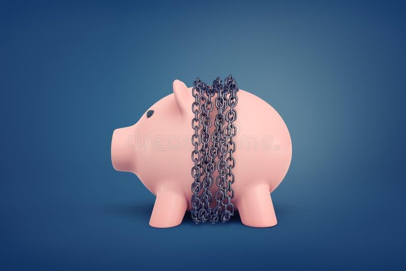 rendição 3d de um mealheiro cor-de-rosa limitado nas correntes no meio de seu corpo em um fundo azul ilustração stock