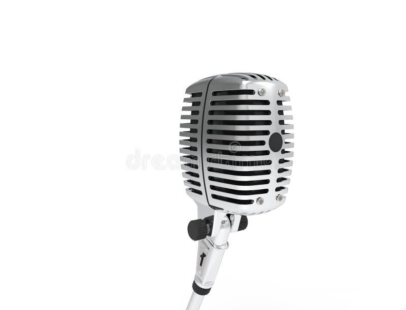 rendição 3D de um microfone clássico do cromo do metal isolado no fundo branco ilustração stock