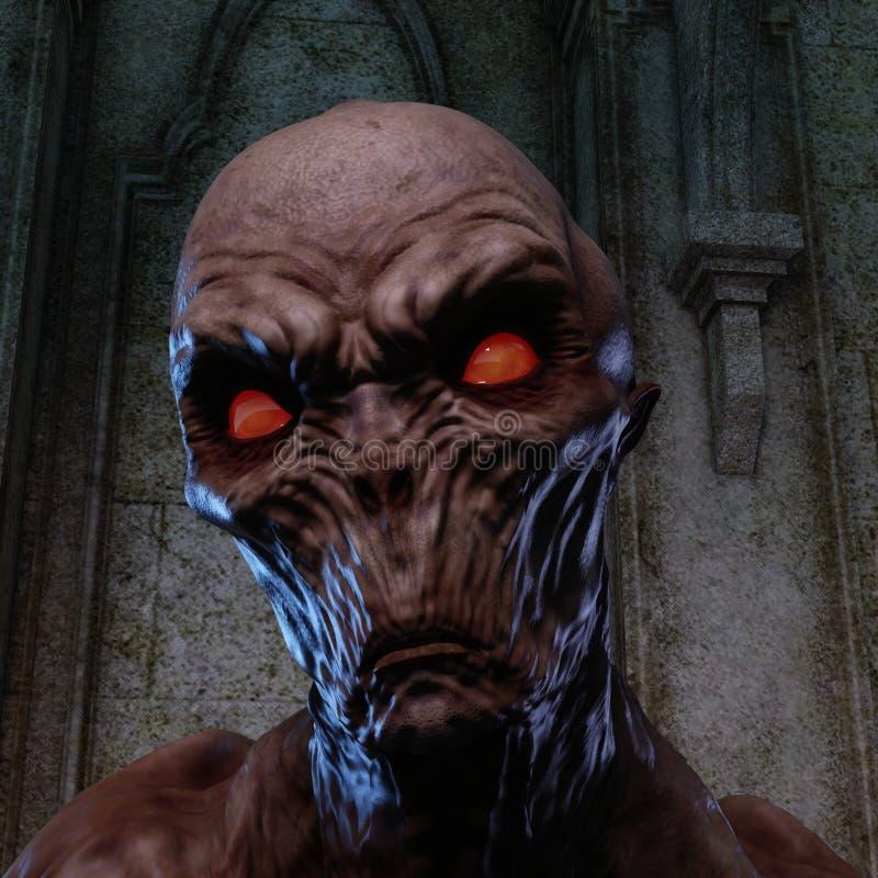 rendição 3D de um monstro assustador ilustração royalty free