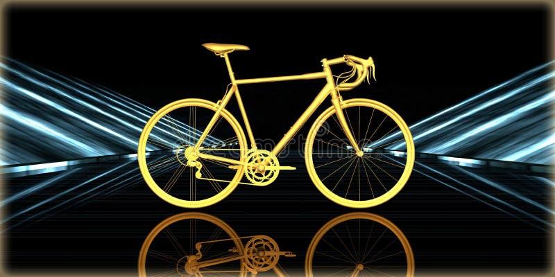 rendição 3d de um objeto dourado dentro de uma estrada futurista ilustração do vetor